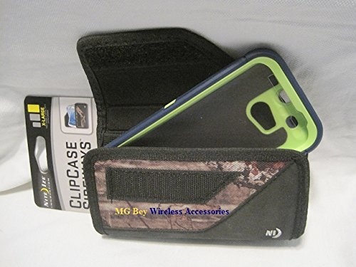 Nite Ize Black Extended Sideways Camouflage Mossy Oak Ballistic Horizontal Rugged Heavy Duty X-large Holster Pouch W/Durable Fixed Belt Clip Fits At&t / T-mobile /Sprint / Verizon HTC One M8 Black Otterbox Defender /Commuter Case