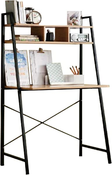 Offex Home Office Black Ladder Steel Frame Desk With Wooden Bookcase Above