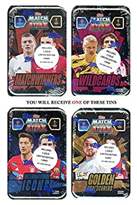 2020/21 Topps Match Attax Champions League Soccer EXCLUSIVE Collectors MEGA TIN with 60 Cards Including Limited Edition Card & 15 Subset Cards! Look for Ronaldo, Messi, Haaland, Neymar & More! WOWZZER