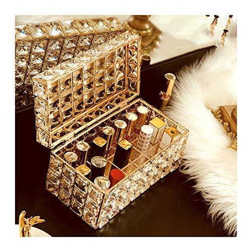 Estante de la joyería Barras de labios Soporte Organizador - Crystal barras de labios del soporte de exhibición con cubierta a prueba de polvo, 21 cuadrículas brillo de labios cosmética caja de almace