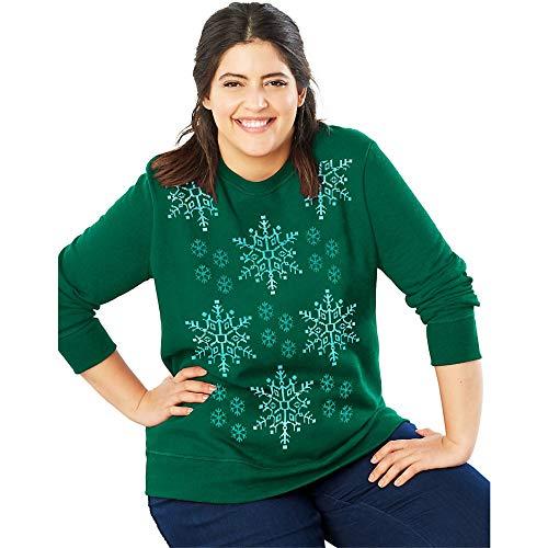 JUST MY SIZE Women's Plus Size Ugly Christmas Sweatshirt, Emerald Night, 28