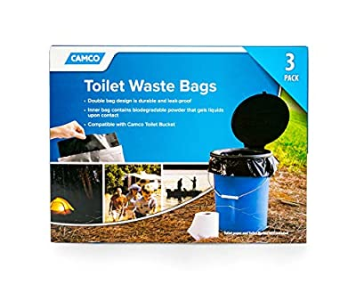 Camco Toilet Waste Bags -Durable Double Bag Design is Leak-Proof, Inner Bag Gels Any Liquid, Great for Camping, Hiking and Hunting and More, 3 Pack (41547)