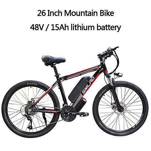 YDBET Eléctrica de Bicicletas de montaña, E Bicicletas para Adultos, Bicicletas 26 Pulgadas de aleación de Aluminio Desmontable 350W eBike 27 Velocidad de 48V / 15Ah de Iones de Litio,Black Red
