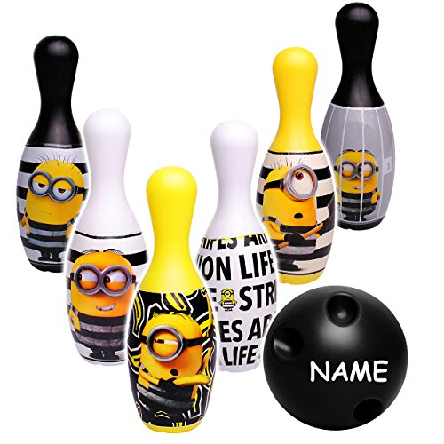 alles-meine.de GmbH XL - 7 TLG. Set - großes Kegelspiel / Bowlingspiel -  Minions - ich einfach unverbesserlich  - incl. Name - 19 cm Kegel - aus Kunststoff / Plastik - für Auß..