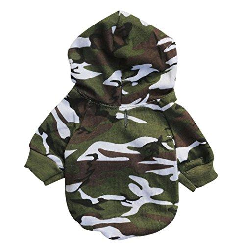 Angelof Vetement Chien/Chat Manteau A Capuche Chien Camouflage Veste pour Chiot Habit Chic Sweat Accessoire Chihuahua Veste Capuche Chien (M, Vert)