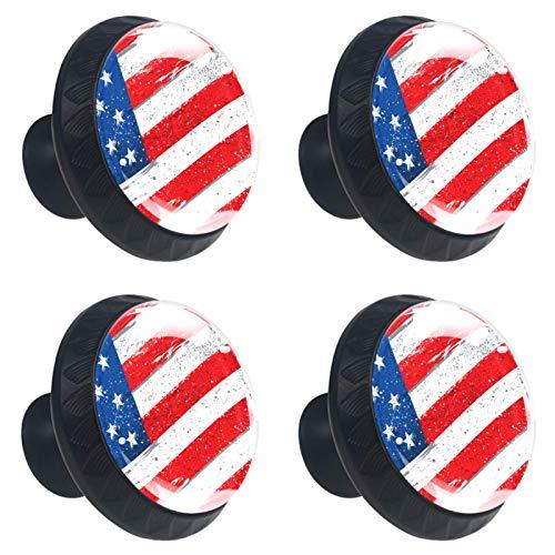 Set mit 4 Stück 3,8 cm Küchenschrankknäufen r& Glas Schubladenknöpfe mit Schrauben für Küche, Kommode, Schrank, Bad, Kleiderschrank, amerikanische Flagge mit rauer Grunge Distressed Textur