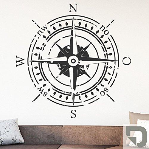 DESIGNSCAPE® Wandtattoo Himmelsrichtungen | Wandtattoo Kompass 58 x 58 cm (Breite x Höhe) grau DW807374-S-F6