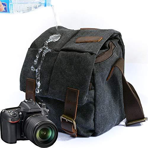 Waterproof Canvas Leather Trim DSLR SLR Shockproof Camera Shoulder Messenger Bag (Dark Grey) …