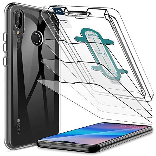 LK [4 Stück Panzerglas Hülle für Huawei P20 Lite, [1 Silikon + 3 Schutzfolie] mit Schablone für Installation, 9H Härte, HD Klar Displayschutzfolie, [Anti-Kratzen] [Blasenfrei]