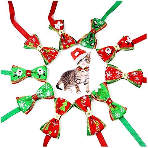 Mirrwin Collar de Navidad Perro Pajarita de Mascotas de Navidad Pajaritas Ajustable de Navidad Patrones con Tema navideño para Mascotas Pequeñas Corbatas Accesorios de Aseo de Perros 10 Piezas