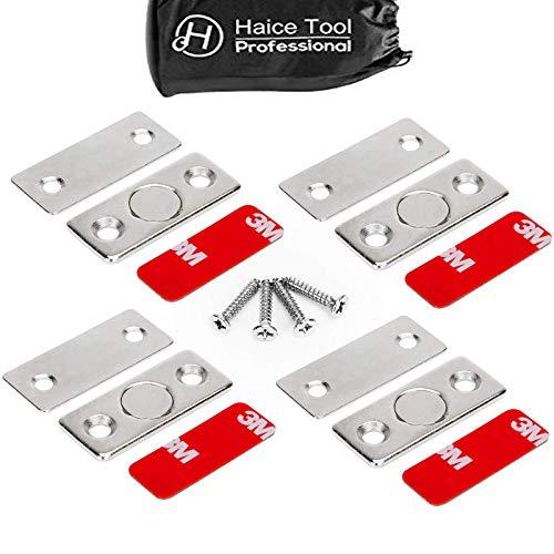 Magnetschnäpper Schranktür Magnet,Haice 4 Stück Ultra Dünn Schublade Magnet Türschließer mit Schrauben Tür Magnetverschluss Magneten für Küchenschrank Türe