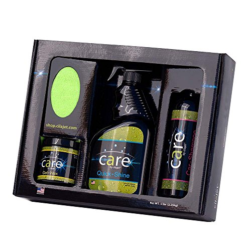 Cilajet Care Kit. The Best auto Paint Protection kit: Car-Shampoo 16 oz, Auto Quick-Shine 32 oz, Car Gel-Wax 8 oz, and 2 Microfiber Towels