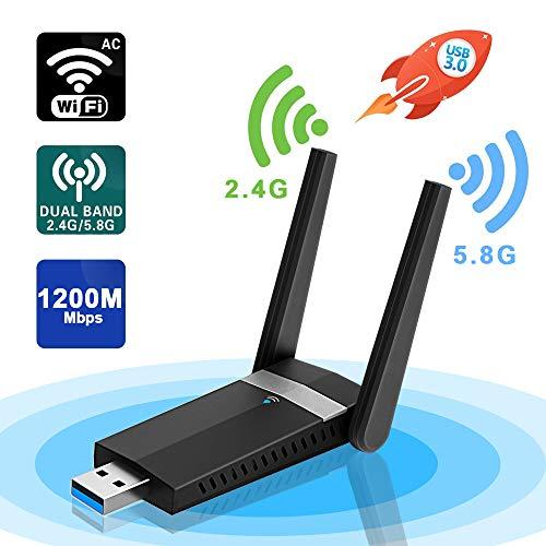 sumgott Antena WiFi,1200Mbps WiFi USB Adaptador 5.8Ghz/2.4Ghz Dual Band Receptor WiFi Inalámbrico Dongle WiFi USB PC para PC, Windows 10/8/7/Vista/XP Mac OSX
