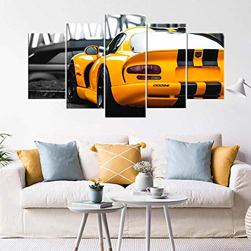 VKEXVDR Lienzo Decorativo para Pared Yellow Dodg Sports Car DiseñO de GicléE,Estilo Moderno,Ideal para Salones-200x100cm Sin Marco