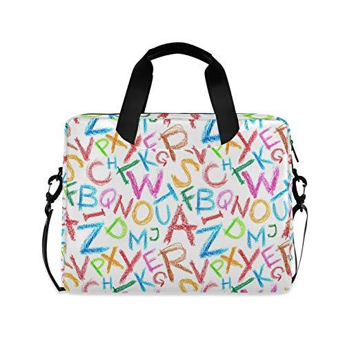 Laptoptasche, 39,6 - 35,6 cm (15,6 - 14 - 15 Zoll), bunte Buntstift-Buchstaben, tragbare Hülle, Aktentasche, verstellbarer Schultergurt und Griff