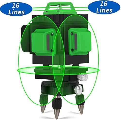 Kreuzlinienlaser 30M, Careslong 4 x 360° grüner Laserpegel selbstausgleichende, grüner Strahl 4D 16 Linien, IP 54 Selbstnivellierende Vertikale und Horizontale Linie (inklusive 2pcs Batterie)
