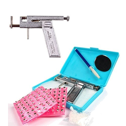 HugeStore Professional Nasen Nabel Ohr Körper Piercing Gun Ohrlochpistole mit 98 Stück Edelstahl Ohrstecker