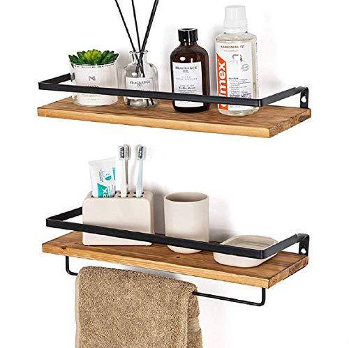 Estantería de pared colgante de madera, soporte para paños de pared, estantería de pared, organizador de archivos, cesta de almacenamiento, para cuarto de baño, salón, dormitorio, oficina o cocina