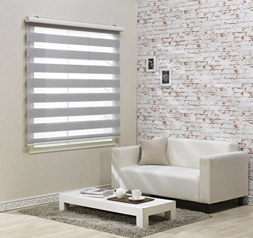 Foiresoft Custom Cut to Size, [Winsharp Combi Elsa, Grey, W 35 x H 47 inch] Zebra Roller Blinds, Dual Layer Shades, Sheer or Privacy Light Control, Day and Night Window Drapes, 20 to 110 inch Wide
