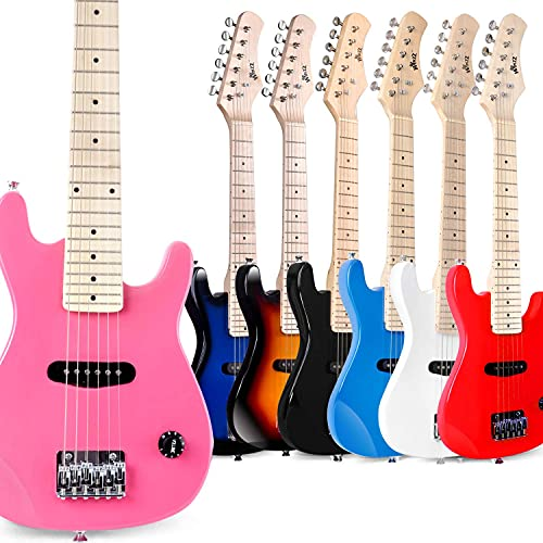 WINZZ 30 Inches Real Kids Electric Guitar with Beginner Kit, Right Handed, Pink