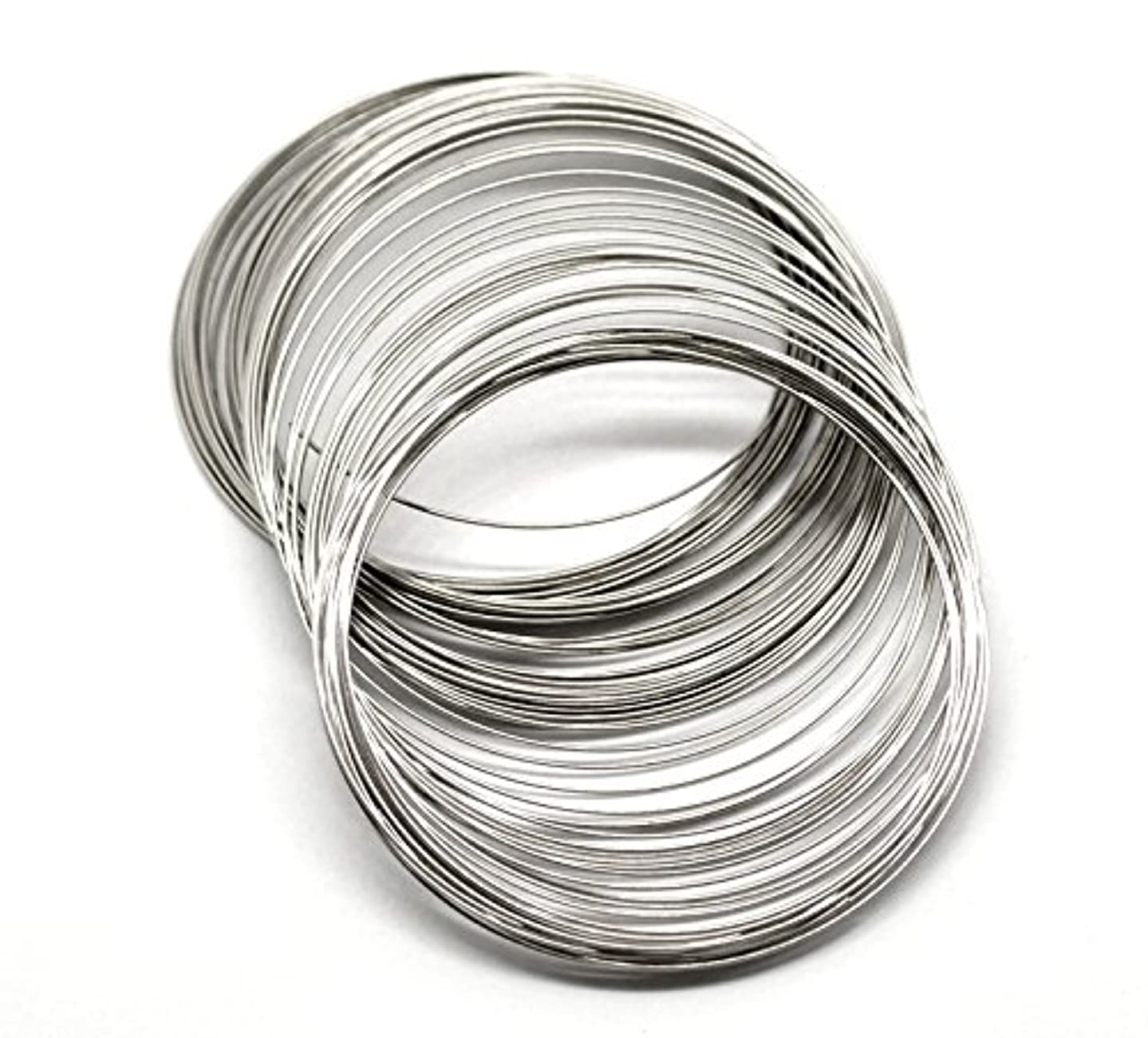 PEPPERLONELY Brand 200 Loop Silver Tone Memory Beading Wire for Bracelet 2-3/4 x 2-15/16 Inch (70MM-75MM)