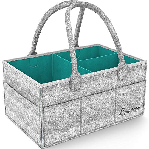 Best Baby Diaper Caddy Organizer - Nursery and Baby Organizer Basket | Portable and Foldable Diaper Organizer for Changing Table | Travel Car Caddy Nursery