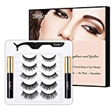 EARLLER Upgraded Magnetic Eyelashes with Eyeliner Kit, 5 Pairs Natural Look 3D False Lashes With Applicator, Including Short and Long Lashes - Waterproof, Easy to Apply and No Glue Needed Set
