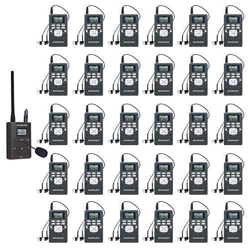 EXMAX EXG-108 Live Translator Device Wireless Microphone FM Radio Broadcast System for Social Distancing Tour Guide Teaching Meeting Training Church Parking Lot 1 Transmitter & 30 Receivers (Gray)