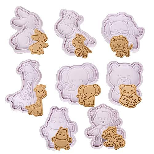 Olywee - Set di 8 stampi per biscotti a forma di animali, in plastica 3D, decorazione per torte