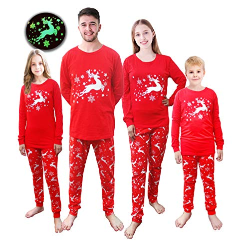 Matching Family Pajamas Adult Men Xmas PJs Christmas Dad Sleepwear Cotton Glow-in-The-Dark Clothes Plus Size 4XL