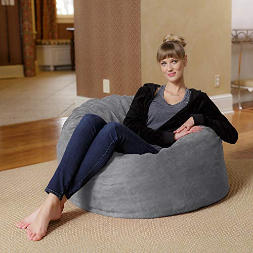 Chill Sack Bean Bag Chair: Large 3' Memory Foam Furniture Bean Bag - Big Sofa with Soft Faux Linen Cover - Linen Gray