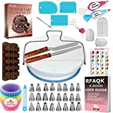 70 Pcs Cake Decorating Equipment -Turntable-Rotating Cake stand-24 Numbered Easy to use Icing Tips with Pattern Chart and E.Book-Straight and Angled Spatula-3 Cake Scrapers (70)