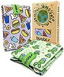 Bolsa portabocadillos Reutilizable. 2X Envoltorio Bocadillo, Sandwich, Almuerzo, merienda Infantil y Adultos. Ecológico y sin BPA (Comida y Cactus)
