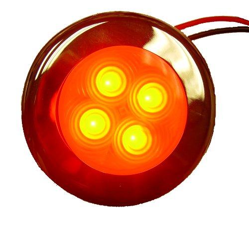 Aqua Signal 4 LED Accent et Courtois lumière avec Couvercle en Acier Inoxydable, Red