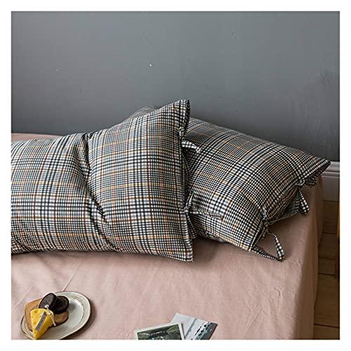 JSJJWSX Almohadas y cojines de algodón a cuadros de 48 x 74 cm, 2 fundas de almohada individuales y doble núcleo de almohada protectora para mesita de noche (color: D, tamaño: 48 x 74 cm x 2 piezas)