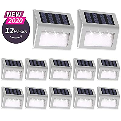 Otdair Solar Deck Lights, 3 LED Solar Step Lights Outdoor Auto On/Off Stainless Steel Solar Stair Lights Waterproof Wireless Solar Powered Lights for Fence Patio Garden Pathway - White 12 Pack