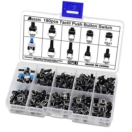 Aussel 10 Werte 180 Pieces Taktiler Drucktastenschalter Micro Momentary Tact Sortiment Kit (180PCS)