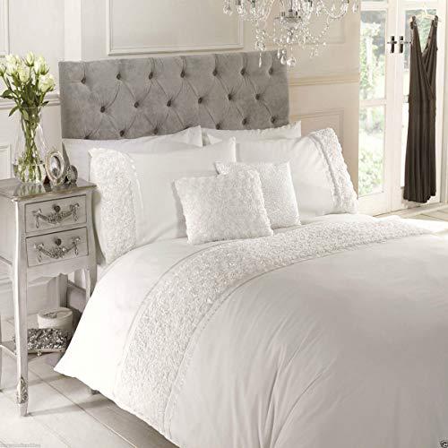 Lime grijs beddengoedset, dekbedovertrek nachttule beddengoed verhoogde ripsband roze en grijs, king.