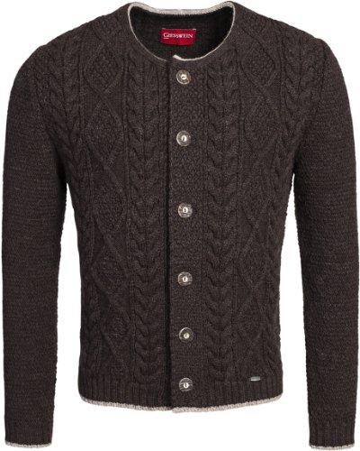 GIESSWEIN Trachtenjacke Leander - atmungsaktive Herren Jacke aus Wolle | 100% Schurwolle | Strick Jacke mit Zopfmuster | Trachtenjacke Herren | Tracht