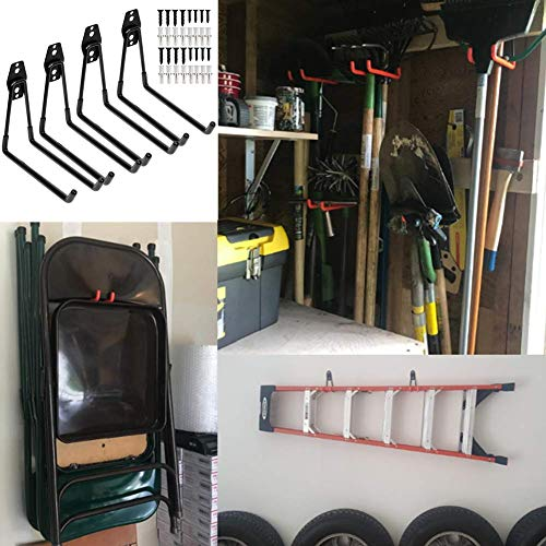 Heavy Duty Garage Storage Utility Double Hooks,Extended Wall Mount Tool Holder Organizer for Ladders,Bike,Chair (4 Pack Black 7.5