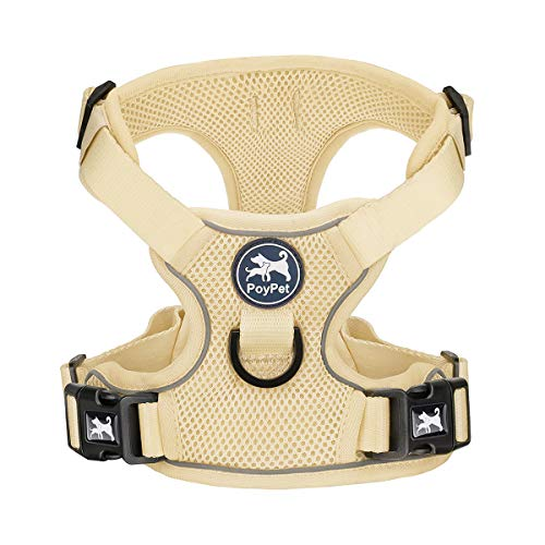 PoyPet Reflective Soft Breathable Mesh Dog Harness Choke-Free Double Padded Vest with Adjustable Neck and Chest(Khaki,S)