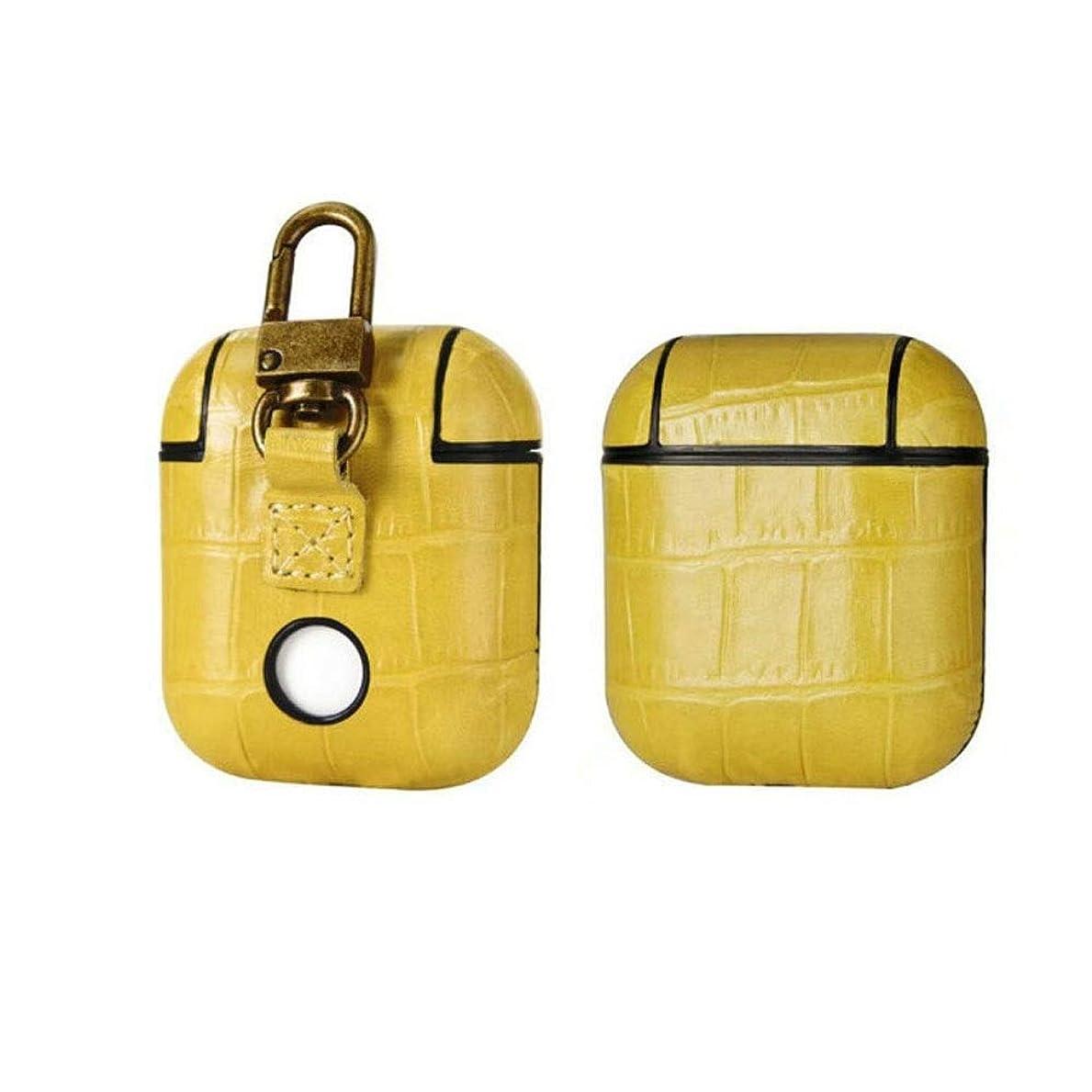 湿地贈り物寄託SHENGSHIHUIZHONG Airpodsケース、ビジネスワイヤレスBluetoothヘッドセット、リアルレザートップレイヤーワニ革イヤホンアンチロストアンチドロップ収納ボックス 最高の贈り物 ヘッドフォン愛好家のための最良の選択 (Color : Yellow)