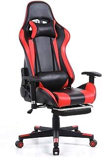 Silla De Escritorio Gamer Profesional, Silla ergonómica para juegos, reposabrazos de elevación y rotación, con reposacabezas y almohadas para la cintura, reclinable a 172 °, con reposapiés, negro-rojo