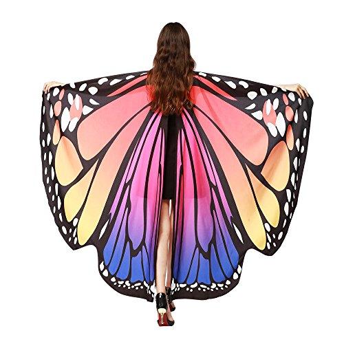 Lazzboy Frauen Schmetterlingsflügel Schal Schals Damen Nymphe Pixie Poncho Kostüm Zubehör(M,Hot Pink)