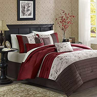 Madison Park - Serene 6 Piece Duvet Cover Set - Red - King/Cal King - Embroidred - Includes 1 Duvet Cover, 2 King Shams,3 Decorative Pillows