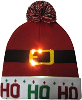Christmas Hat for Adults,Novelties LED Light Up Hat Knitted Ugly Sweater Holiday Xmas Christmas Beanie Hats