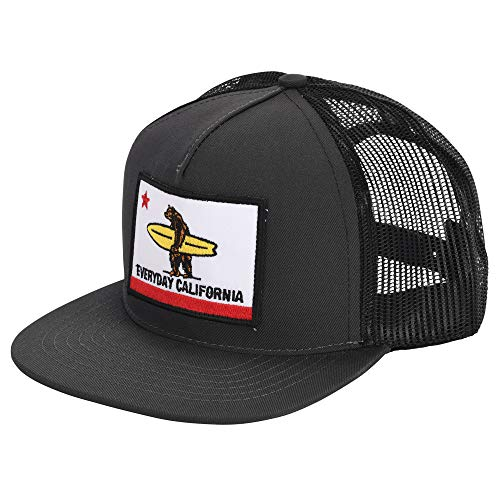 Everyday California 'Shores' Snapback Charcoal Grey Surf Hat - Flat Brim Baseball Cap with Flag Patch