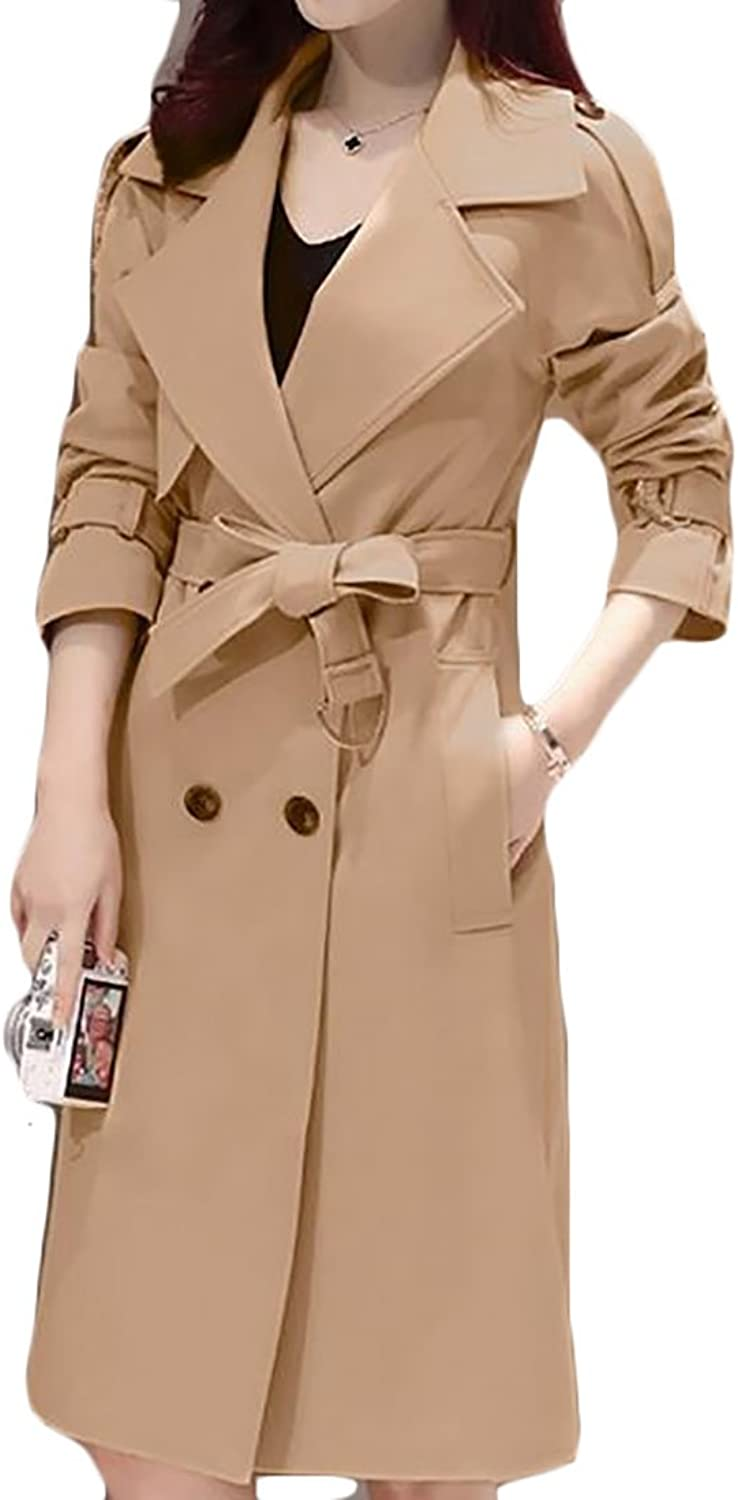 Papijam Womens Double Breasted Belted Outdoor Long Jacket Trench Coat