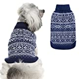 Dog Sweater Argyle - Warm Sweater Winter Clothes Puppy Soft Coat Dogs Navy Blue XSmall