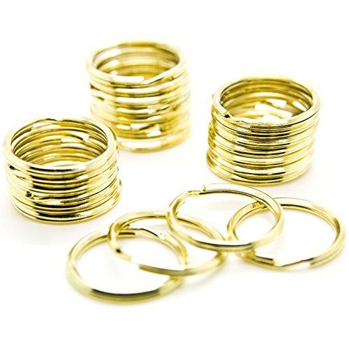 """100pcs - 1"""" (25mm) Gold Brass Plated Steel Key Rings Split Rings Heavy Duty"""
